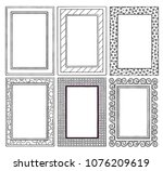 six decorative black and white... | Shutterstock .eps vector #1076209619