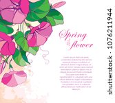 vector corner bouquet with... | Shutterstock .eps vector #1076211944