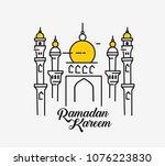 eid mubarak celebration  mosque.... | Shutterstock .eps vector #1076223830