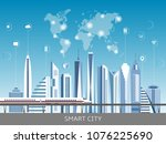 urban landscape with... | Shutterstock .eps vector #1076225690