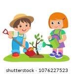 cute cartoon girl and boy... | Shutterstock .eps vector #1076227523