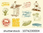 surf badge and wave  palm tree... | Shutterstock .eps vector #1076230004