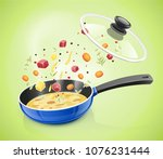 blue pan with lid. kitchen... | Shutterstock .eps vector #1076231444