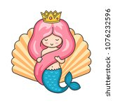 princess mermaid on the... | Shutterstock .eps vector #1076232596