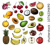 hand drawn fruits and berries... | Shutterstock .eps vector #1076234690