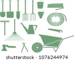 a set of monochrome icons of... | Shutterstock .eps vector #1076244974