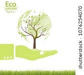 environmentally friendly world. ... | Shutterstock .eps vector #1076254070