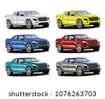 pick up car different color set | Shutterstock .eps vector #1076263703