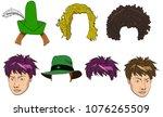 vector cartoon doodle set of...   Shutterstock .eps vector #1076265509