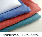 pile of natural colorful linen... | Shutterstock . vector #1076270393