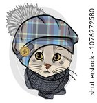 vector cat with hat and knitted ... | Shutterstock .eps vector #1076272580