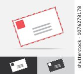 post mail vector icon flat... | Shutterstock .eps vector #1076278178