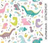 cute funny kids dinosaurs... | Shutterstock .eps vector #1076292419