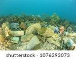 plastic ocean pollution.... | Shutterstock . vector #1076293073