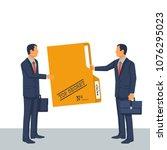 person give secret documents.... | Shutterstock .eps vector #1076295023