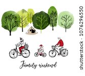 family weekend. sketch and... | Shutterstock .eps vector #1076296550
