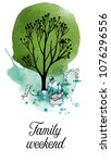 family weekend. sketch and... | Shutterstock .eps vector #1076296556