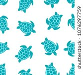 Stock vector seamless pattern with turtle turquoise on white banner with turtles and flowers 1076297759