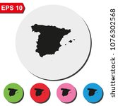 map of spain round colorful... | Shutterstock .eps vector #1076302568