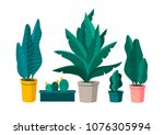 vector setvector set of plants. ... | Shutterstock .eps vector #1076305994