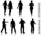 black silhouette group of...   Shutterstock .eps vector #1076306420