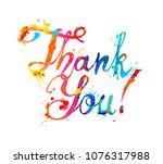 thank you. hand written vector...   Shutterstock .eps vector #1076317988