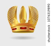 royal golden crown with... | Shutterstock .eps vector #1076319890
