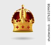 royal golden crown with... | Shutterstock .eps vector #1076319908