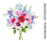vector bouquet of red  pink ...   Shutterstock .eps vector #1076323100