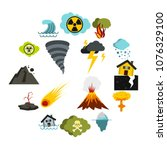 flat natural disaster icons set....