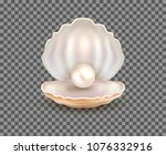 pearl open shell realistic... | Shutterstock .eps vector #1076332916