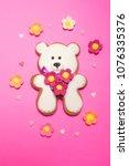 white bear on pink background....   Shutterstock . vector #1076335376