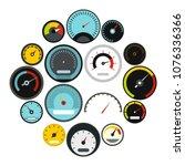 flat speedometer icons set.... | Shutterstock .eps vector #1076336366