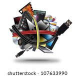 a ball of different electronic... | Shutterstock . vector #107633990