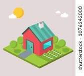 red and blue house building... | Shutterstock .eps vector #1076342000