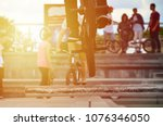 a cyclist jumps over a pipe on...   Shutterstock . vector #1076346050
