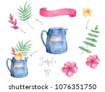 watercolor watering can design... | Shutterstock . vector #1076351750