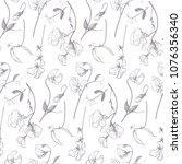 sweet pea linear floral pattern ... | Shutterstock .eps vector #1076356340