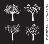 set of white trees with leaves. ... | Shutterstock .eps vector #1076364788