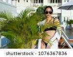 beautiful tanned skin asian... | Shutterstock . vector #1076367836