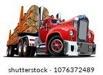 cartoon retro logging truck...   Shutterstock .eps vector #1076372489