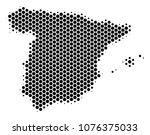 halftone hexagon spain map.... | Shutterstock .eps vector #1076375033