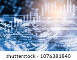 Modern way of exchange. Bitcoin is convenient payment in global economy market. Virtual digital currency and financial investment trade concept. Abstract cryptocurrency with gold bitcoin background. - stock photo