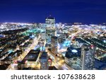 Boston aerial view of downtown - stock photo