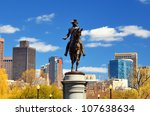 George Washington Statue at Boston Public Garden in Boston, Massachuetts. - stock photo
