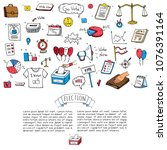 hand drawn doodle vote icons... | Shutterstock .eps vector #1076391164