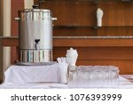 catering set on white table ... | Shutterstock . vector #1076393999