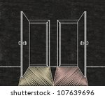 double doors open two choices a ... | Shutterstock . vector #107639696