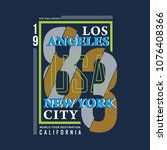 los angeles typography graphic... | Shutterstock .eps vector #1076408366