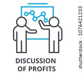 discussion of profits thin line ... | Shutterstock .eps vector #1076421233
